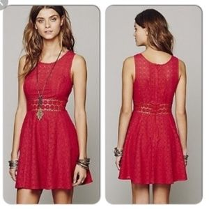 FREE PEOPLE Mini Dress, Red Floral Lace Boho, 4